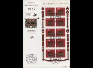 1023 Kleinbogen Tag der Briefmarke auf Schmuck-FDC Bonn 11.10.1979