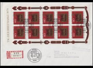 1023 Kleinbogen Tag der Briefmarke EF R-FDC ESSt Bonn 11.10.1979 nach Messkirch