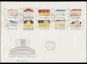 Heftchenblatt aus MH 13 Schlösser / Manors mit 903-912 auf Schmuck-FDC 14.6.1982