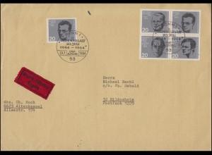 433ff ZD-Viererblock aus Bl. 3 20. Juli 1944 mit 434 Eil-FDC ESSt Bonn 20.7.64