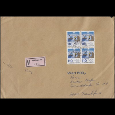 1100 Polarforschung im Viererblock MeF Wert-Brief ESSEN 2.12.81 nach Frankfurt