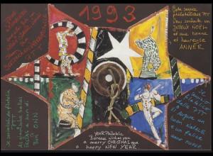 Schweiz: Jahresgabe der Wertzeichenverkaufsstelle PTT Weihnachten 1993 & Zirkus