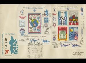 Uruguay Ausstellung Luftfahrt URUGUAY'77: 2 Blöcke auf Brief SSt 31.7.77