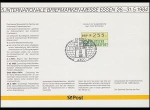 Messe-Karte ATM-Dokumentation 1981-1998 mit passendem SSt ESSEN 27.5.1984