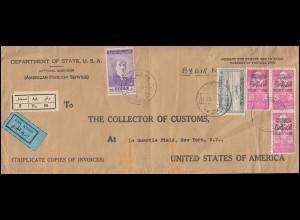 Syrien Lp-R-Brief DAMASKUS 16.4.48 Botschaftsbrief nach NEW YORK Zollamt 20.4.48