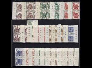 454-461 Bauwerke Kollektion 25 Einheiten Randziffernzudrucke, ** postfrisch