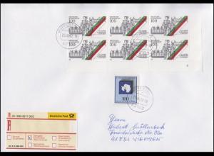 1676 ER-6er-Block mit FN 3 MiF R-Brief WUPPERTAL 29.6.02 n. Viersen mit E-Schein