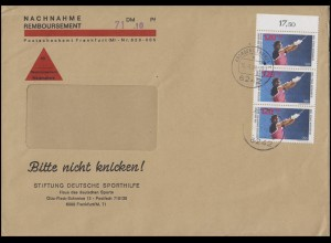 803 Olympia Hammerwerfen Rand-3er-Streifen 120 Pf MeF NN-Brief FRANKFURT 15.3.88