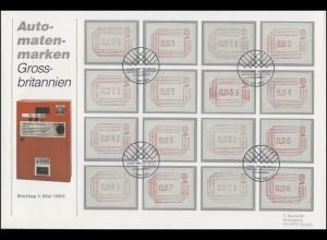 Großbritannien: 1. Ausgabe ATM 1984 mit 16 Werten auf FDC