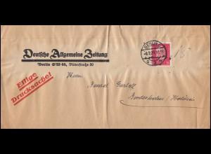Firmenlochung DAZ auf 414 Hindenburg Streifband Eilige Drucksache BERLIN 9.9.29