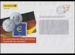 1956 Frauen Maria Probst 300 Pf EF Werbe-Bf. Euro-Silbermünze FRANKFURT 10.12.01