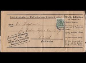 Firmenlochung JPB auf Germania 5 Pf. Drucksache Kriegsnachrichten in die Schweiz