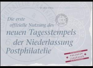 Dokumentation: Neuer Tagesstempel der NL Postphilatelie Bl.39 documenta 1.7.97