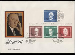 Block 4 Adenauer-Block mit Portrait auf Schmuck-FDC ESSt Bonn 19.4.68