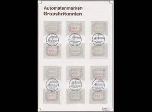Großbritannien 1. Ausgabe ATM 1984 mit 32 Werten auf 3 Schmuck-/FDC-Karten+AK-O