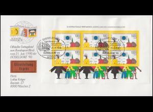 Block 21 Ausstellung der Jugend - auf Schmuck-Eil-FDC ESSt DÜSSELDORF 21.6.1990