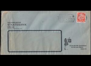 Firmenlochung TSt auf Hindenburg 12 Pf. als EF auf Schmuck-Brief WEIMAR 18.4.33