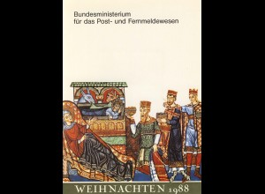MinKa Weihnachten 1988 mit Bund 1396 Viererblock, SSt Himmelsthür 1.12.1988
