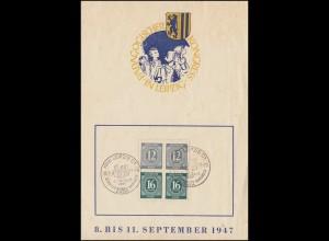 Erinnerungskarte 2. Pädagogischer Kogress SSt LEIPZIG 1947 mit 2x S 294 im Vbl.