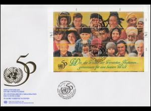 UNO Wien 50 Jahre UNO 190-201 als Kleinbogen auf 2 Schmuck-FDC 24.10.1995