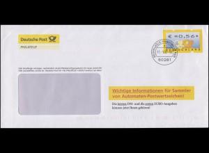 Post-Brief Informationen für Sammler von ATM EF ATM 4 zu 56 C. Frankfurt 11.1.02