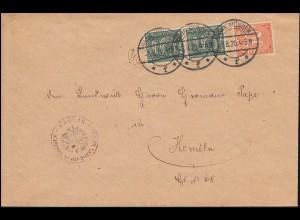 Dienstmarken 16+20 Ziffern Ablösungt 21 als MiF auf Brief HANN. MÜNDEN 3.8.1920