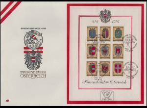 Block 4 1000 Jahre Österreich - Wappen auf Schmuck-FDC ESSt Wien 1976