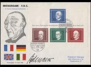 Block 4 Adenauer Churchill De Gasperi Schuman EF Schmuck-FDC ESSt Bonn 19.4.68
