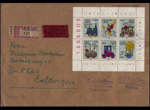 2566-2571 Spielzeug-Kleinbogen 1980 als EF auf Express-R-Brief MORITZBURG 9.1.81