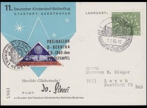 11. Deutscher Kinderdorf Ballonflug BERNINA 3. Neujahsfahrt, SSt NAGOLD 1.1.63