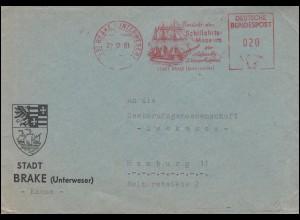 AFS Schifffahrts-Museum Stadt BRAKE (UNTERWESER) 22.12.61 auf Brief nach Hamburg