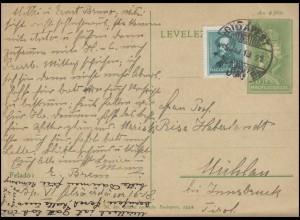 Ungarn Ganzsache Postkarte P 101 Sagenvogel Turul 6 F. + Zufr. BUDAPEST 14.5.35