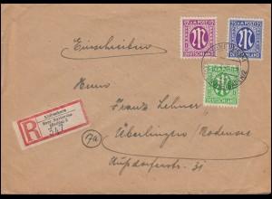 5+7+8 AM-Post als MiF auf R-Brief LINKENHEIM über KARLSRUHE 2.2.1946