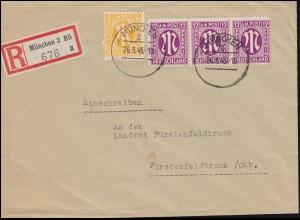 4+7 AM-Post als MiF auf R-Brief mit aptierten Stempel MÜNCHEN 2 - 26.9.45