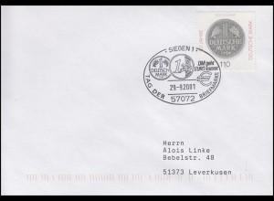 1996 Deutsche Mark, EF Brief SSt Siegen DM geht EURO kommt & T.d.B. 29.9.2001
