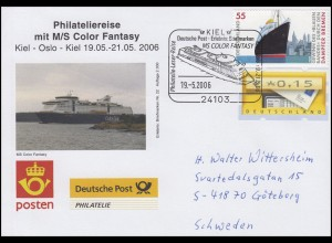 Philateliereise MS Color Fantasy Kiel-Oslo,Auflage 2000! SSt Kiel Schiff 19.5.06