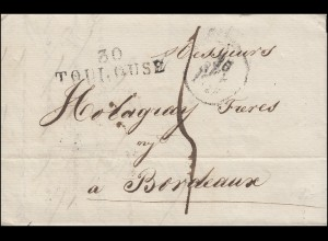 Frankreich Vorphilatelie Brief 30 TOULOUSE 26.9. nach BORDEAUX 27.9.1828