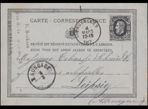 Belgien Postkarte P 8 König Leopold schwarz BRÜSSEL 4.3.1877 nach LEIPZG 5.3.77