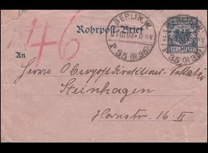 Rohrpost-Umschlag RU 3 Adler BERLIN 27.3.93 P 35 (R35) n. BERLIN 2.3. P 46 (R18)