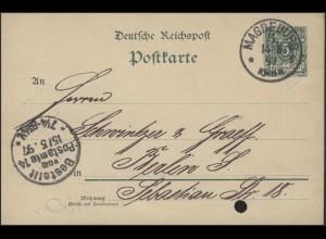 Postkarte Ziffer 5 Pf grün Magdeburg 14.5.97