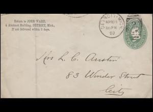 USA Ganzsache Umschlag 2 Cent grün DETROIT Mich. 29.4.90 & Nummernstempel 2