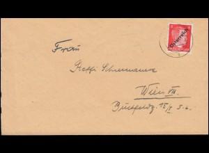 Österreich 662 Freimarke 8 Pf. Aufdruck I als EF auf Ortsbrief WIEN 17.5.1945