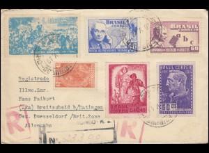 672 Kriegsende mit 717, 735, 737, 738 und 741 auf R-Brief NOVA FRIBURGO 20.5.49