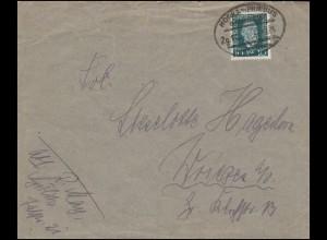 28 Aufdruckmarke 2 m auf 1 Fr Eil-R-Brief MEMEL 18.10.20 nach Löbau, Altprüfung