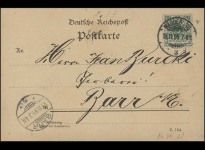 Ziffer 5 Pfennig EF PK Magdeburg 18.11.1895 nach Barr