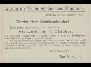 Postkarte P 57X mit Zudruck Verein für Freihandschießen Hannover, ungebraucht **