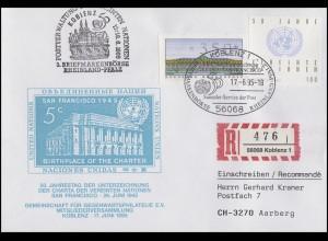 1804 UNO, SchWZD-ATM ohne DBP, R-Bf SSt Koblenz UNO 17.6.95 Börse