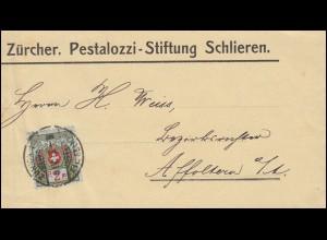 Portofreiheitsmarke 2I Alpenrose Streifband Pestalozzi-Stiftung ZÜRICH 8.4.1913