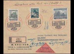 23+34+56 Freimarken auf NN-R-Brief Zweifarben-SSt PRAG Briefmarken 25.12.40