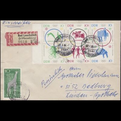 1039-1044 Olympia-Zusammendruck Rand-6er-Block MiF R-Brief BAD LAUCHSTÄDT 7.4.65